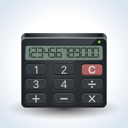 Portable calculator realistic vector icon