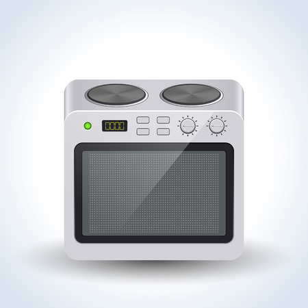 Realistic home electric oven vector icon Illustration