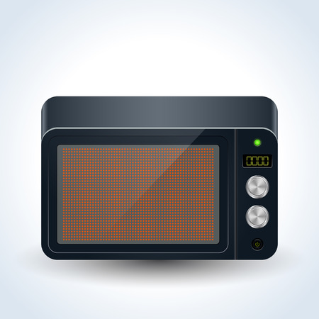 Microwave oven realistic vector icon