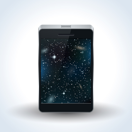 Realistic smartphone with night sky wallpaper vector illustration
