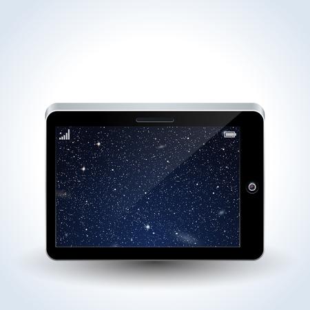Tablet computer, smartphone, palmtop gadget realistic vector icon Illustration