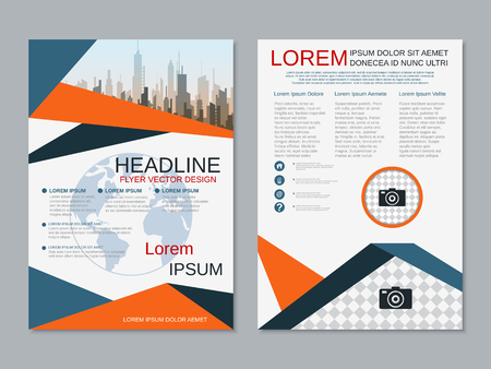 Modern business two-sided flyer, booklet, brochure cover vector design template. A4 format Vector Illustration
