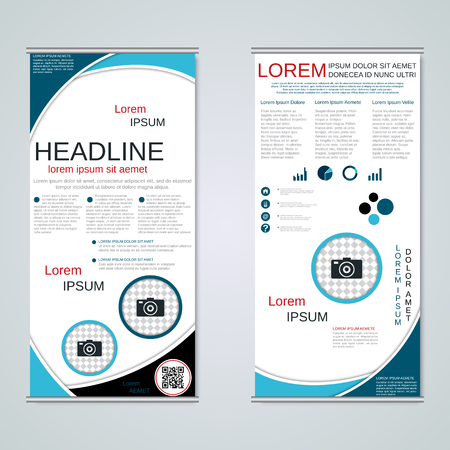 Modern roll-up business banners, two-sided flyer vector design template Illustration