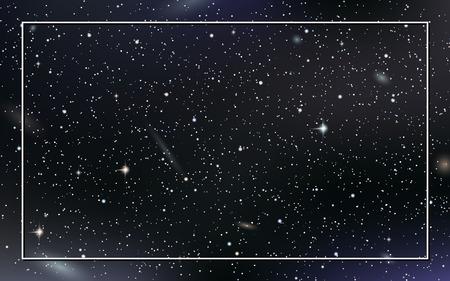 Fond de vecteur de ciel nocturne avec des étoiles, des nébuleuses et des galaxies