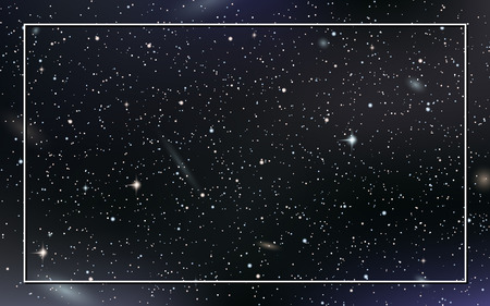 Night sky vector background with stars,  nebula and galaxies Illustration