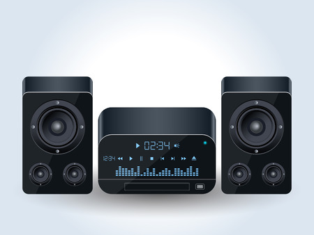 Home audio system realistic vector illustration