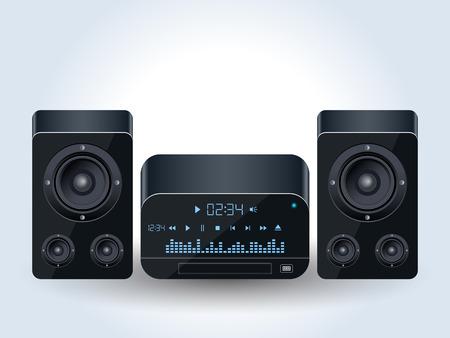 Ilustración de vector realista de sistema de audio para el hogar