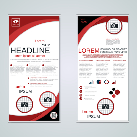 Modern roll-up business banners, two-sided flyer vector design template Vettoriali