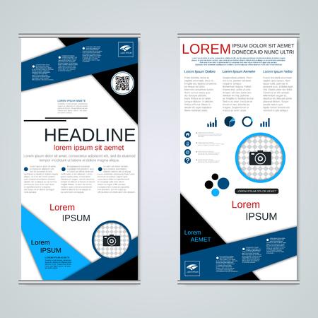 Moderni banner aziendali roll-up, modello di progettazione vettoriale flyer fronte-retro Vettoriali
