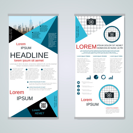Modern roll-up business banners, two-sided flyer vector design template Banque d'images - 123808243