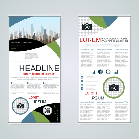 Modern roll-up business banners, two-sided flyer vector design template Banque d'images - 123808244