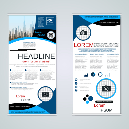 Modern roll-up business banners, two-sided flyer vector design template Banque d'images - 123808245