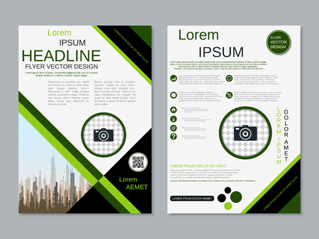 Modern business two-sided flyer, booklet, brochure cover vector design template Banque d'images - 123809406