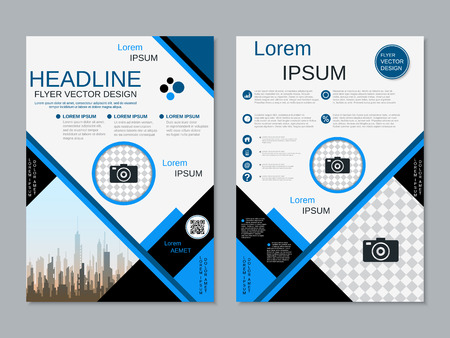 Modern business two-sided flyer, booklet, brochure cover vector design template Banque d'images - 123809407