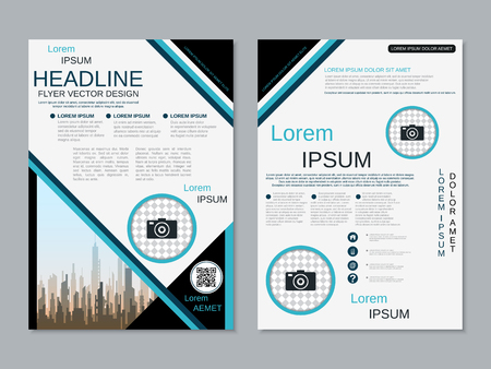 Modern business two-sided flyer, booklet, brochure cover vector design template Banque d'images - 123809408