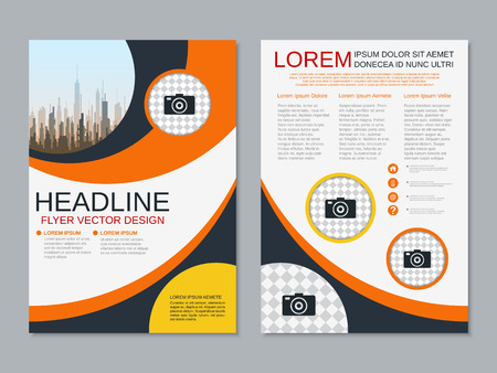 Modern business two-sided flyer, booklet, brochure cover vector design template Banque d'images - 123809414