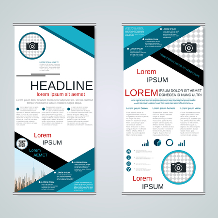 Modern roll-up business banners vector template Banque d'images - 123809416