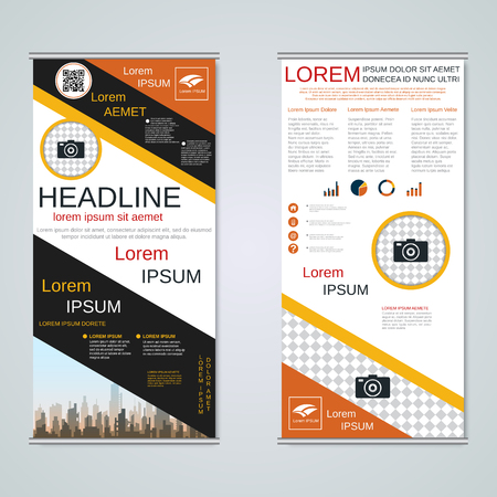 Modern roll-up business banners vector template Banque d'images - 123809420