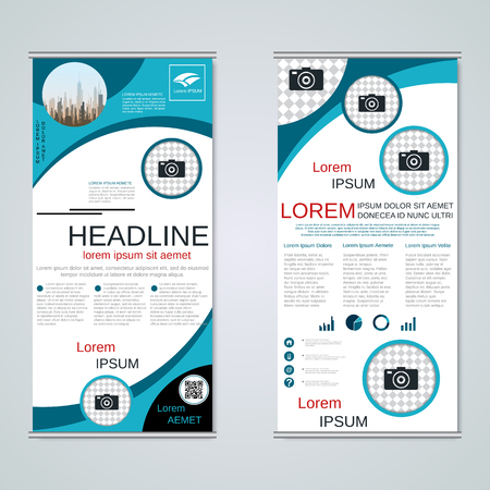 Modern roll-up business banners vector template Banque d'images - 123809727