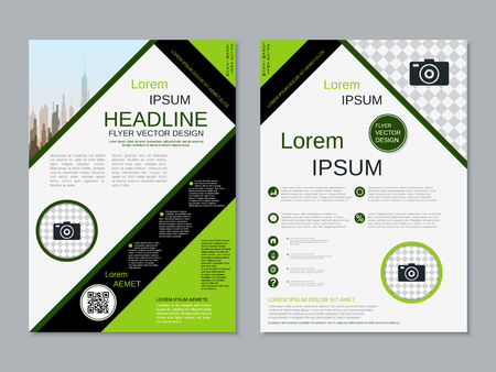 Modern professional two-sided flyer vector design template Banque d'images - 123809728