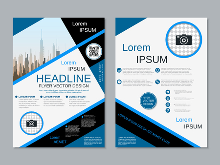 Modern professional two-sided flyer vector design template Banque d'images - 123809730