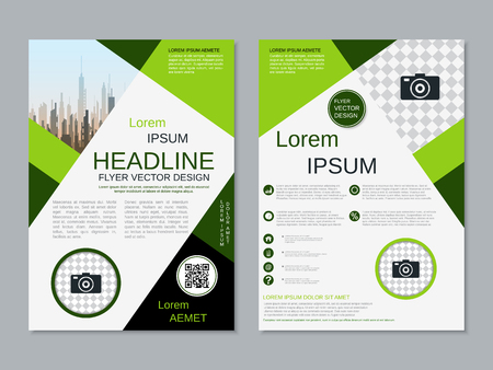Modern professional two-sided flyer vector design template Banque d'images - 123809731