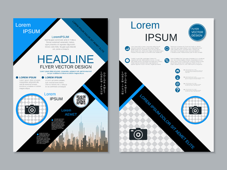 Modern professional two-sided flyer vector design template Banque d'images - 123809733