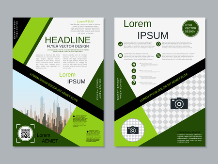 Modern professional two-sided flyer vector design template Banque d'images - 123809732