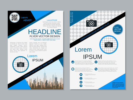 Modern professional two-sided flyer vector design template Banque d'images - 123809734