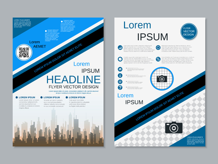 Modern professional two-sided flyer vector design template Banque d'images - 123809735