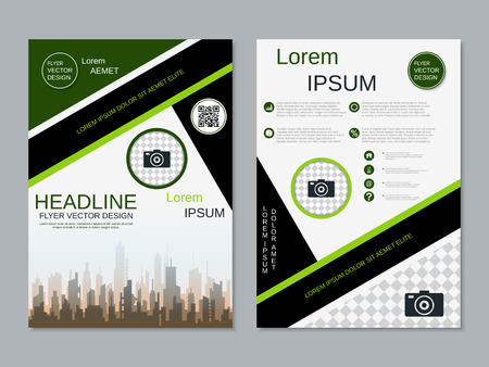 Modern professional two-sided flyer vector design template Banque d'images - 123809736