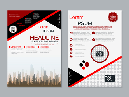 Modern professional two-sided flyer vector design template Banque d'images - 123809737