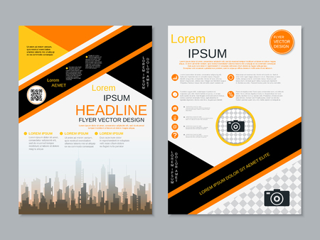 Modern professional two-sided flyer vector design template Banque d'images - 123809739