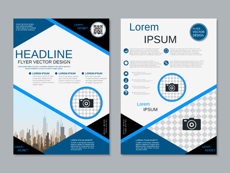 Modern professional two-sided flyer vector design template Banque d'images - 123809900