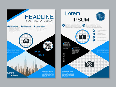 Modern professional two-sided flyer vector design template Banque d'images - 123809902