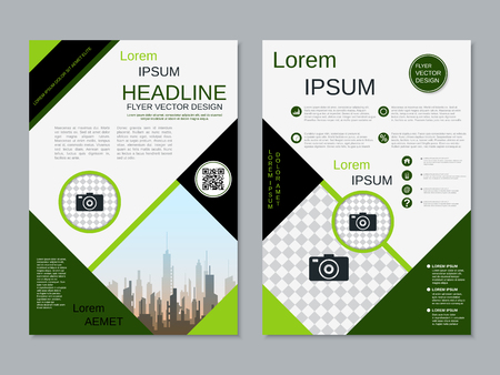 Modern professional two-sided flyer vector design template Banque d'images - 123809905