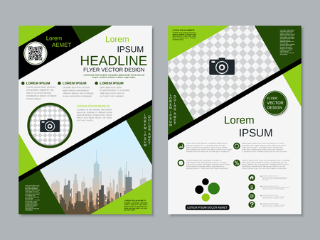 Modern professional two-sided flyer vector design template Banque d'images - 123809901