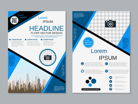 Modern professional two-sided flyer vector design template Banque d'images - 123809903