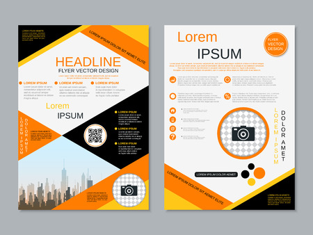 Modern professional two-sided flyer vector design template Banque d'images - 123809908