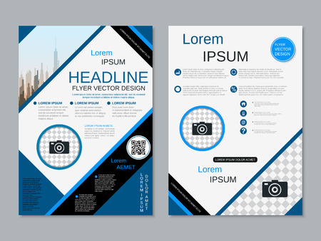 Modern professional two-sided flyer vector design template Banque d'images - 123809906