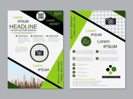 Modern professional two-sided flyer vector design template Banque d'images - 123809911