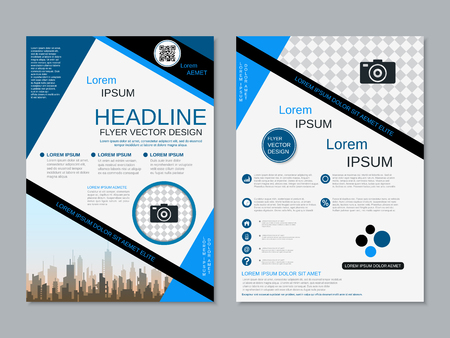 Modern professional two-sided flyer vector design template Banque d'images - 123813048