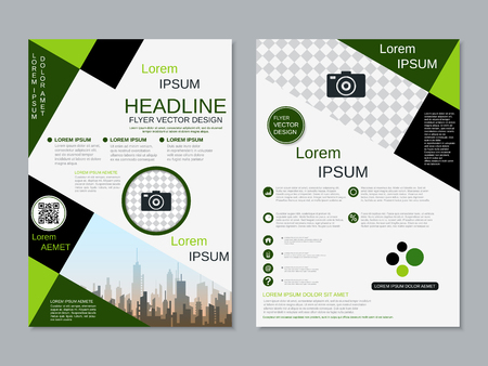 Modern professional two-sided flyer vector design template Banque d'images - 123813049
