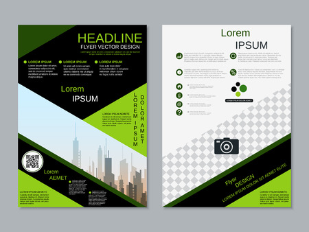 Modern professional two-sided flyer vector design template Banque d'images - 123813050