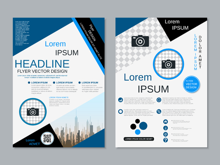 Modern professional two-sided flyer vector design template Banque d'images - 123813052