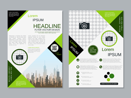 Modern professional two-sided flyer vector design template Banque d'images - 123813053