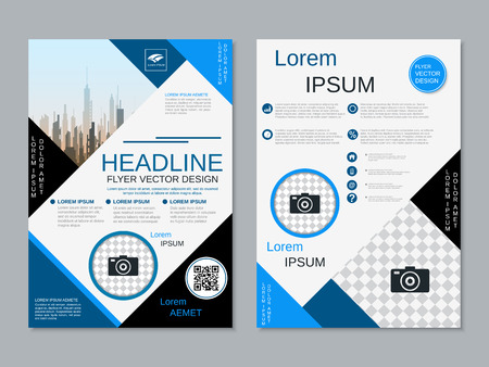 Modern professional two-sided flyer vector design template Banque d'images - 123813054