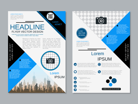 Modern professional two-sided flyer vector design template Banque d'images - 123813055