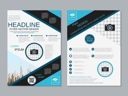 Modern professional two-sided flyer vector design template Banque d'images - 123813058