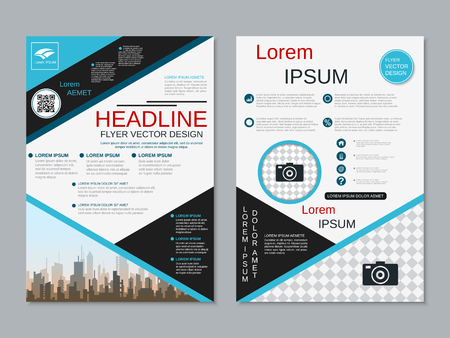 Modern professional two-sided flyer vector design template Banque d'images - 123813059